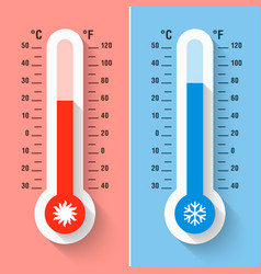 Celsius and fahrenheit thermometers measuring vector