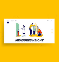 child height measuring landing page template vector image