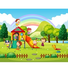 Children playing in the park at daytime vector