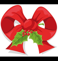 christmas holly bow vector image
