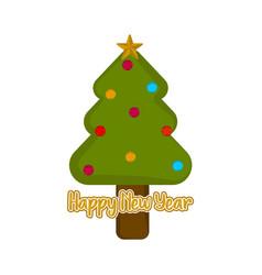 christmas tree icon happy new year vector image