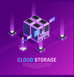 Cloud storage isometric background vector