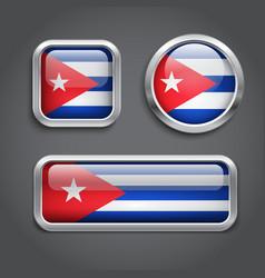 Cuba flag glass buttons vector
