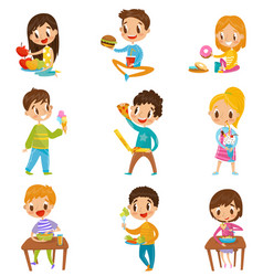 cute boy and girls having brekfast or lunch set vector image