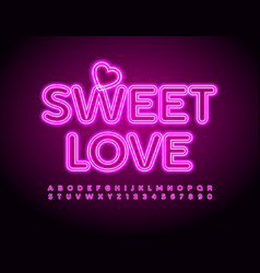 Cute card sweet love pink neon alphabet s vector