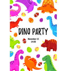 cute greeting card with a dinosaur party vector image