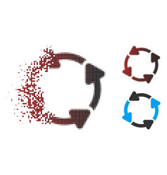 Dispersed pixel halftone rotate cw icon vector