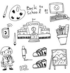 Doodle hand drraw school element vector