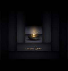 Elegant 3d oil lamp and black geometric background vector