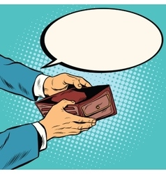 Empty wallet no money vector image