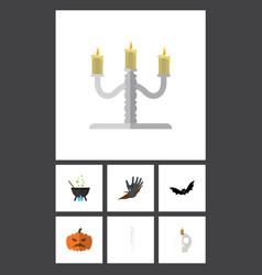 flat icon festival set of skeleton magic vector image