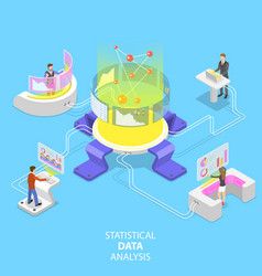flat isometric concept statictical data vector image