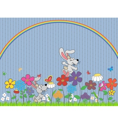 Flowers and rabbit vector