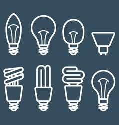 Fluorescent lamp and light bulb icons vector