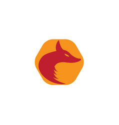 fox head hexagon orange background shape vector image