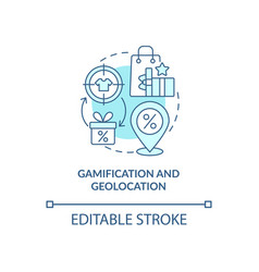 Gamification and geolocation blue concept icon vector
