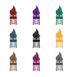 gas toweroil single icon in black style vector image