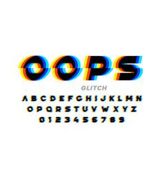 glitch style font design distorted alphabet vector image