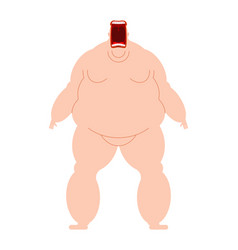 glutton open mouth hungry fat man fatso heavy vector image