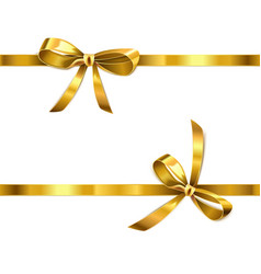 golden bow with ribbon vector image