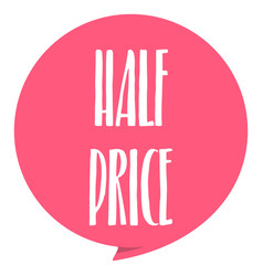 half pirce tag red color isolated on white vector image