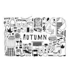 Hand drawn autumn pattern fall background vector