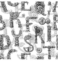 Hand drawn seamless pattern with mechanical vector