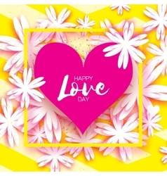 Happy Valentines Day Greeting card Paper cut vector