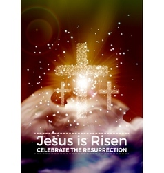 He is risen Easter religious poster vector