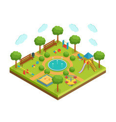 isometric kid playground with fountain vector image