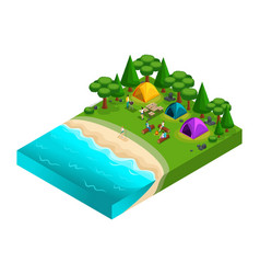 Isometric of camping friends on vacation fresh vector