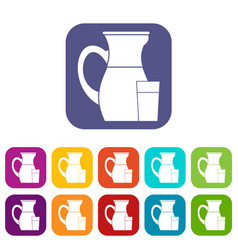 Jug of milk icons set vector