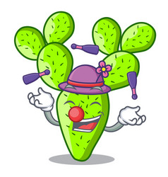 Juggling cartoon the prickly pear opuntia cactus vector