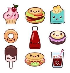 Kawaii fast food and fruit vector