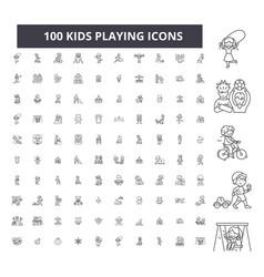 kids playing editable line icons 100 set vector image