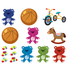 Large set different toys on white background vector