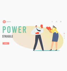 Man and woman power struggle landing page template vector