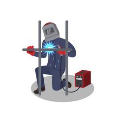 Man welds metal construction with welding machine vector
