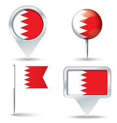 Map pins with flag of Bahrain vector