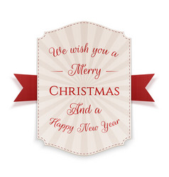 merry christmas banner isolated on white vector image