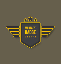 Military badge design with wings and stars army vector