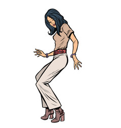 modern woman dancing eighties disco music vector image