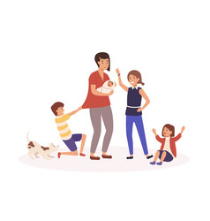 Mother with many children flat vector