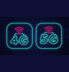 Neon glowing 4g and 5g icons vector