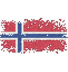 Norwegian grunge tile flag vector image