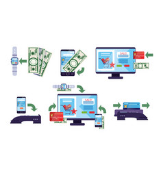 online payment methods collection financial vector image