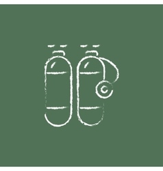 Oxygen tank icon drawn in chalk vector image