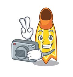Photographer swim fin mascot cartoon vector