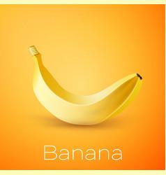 realistic banana on yellow background vector image