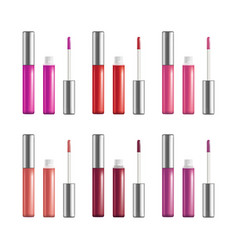 realistic detailed color lip gloss set open and vector image